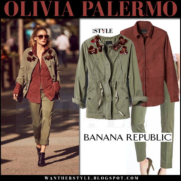 Olivia Palermo in green embellished jacket, rust brown suede shirt and green pants banana republic military style 2017