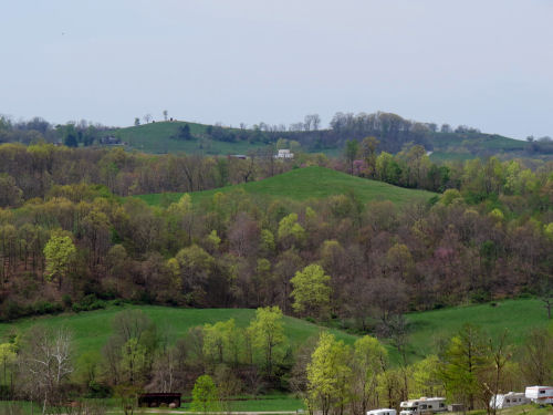 pointed hills in spring