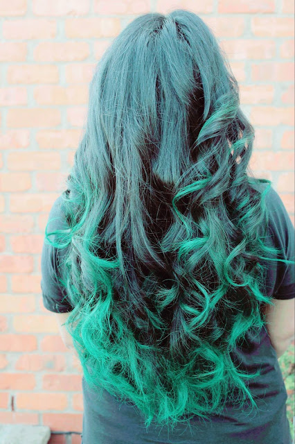 manic panic enchanted forest on dark hair, green hair