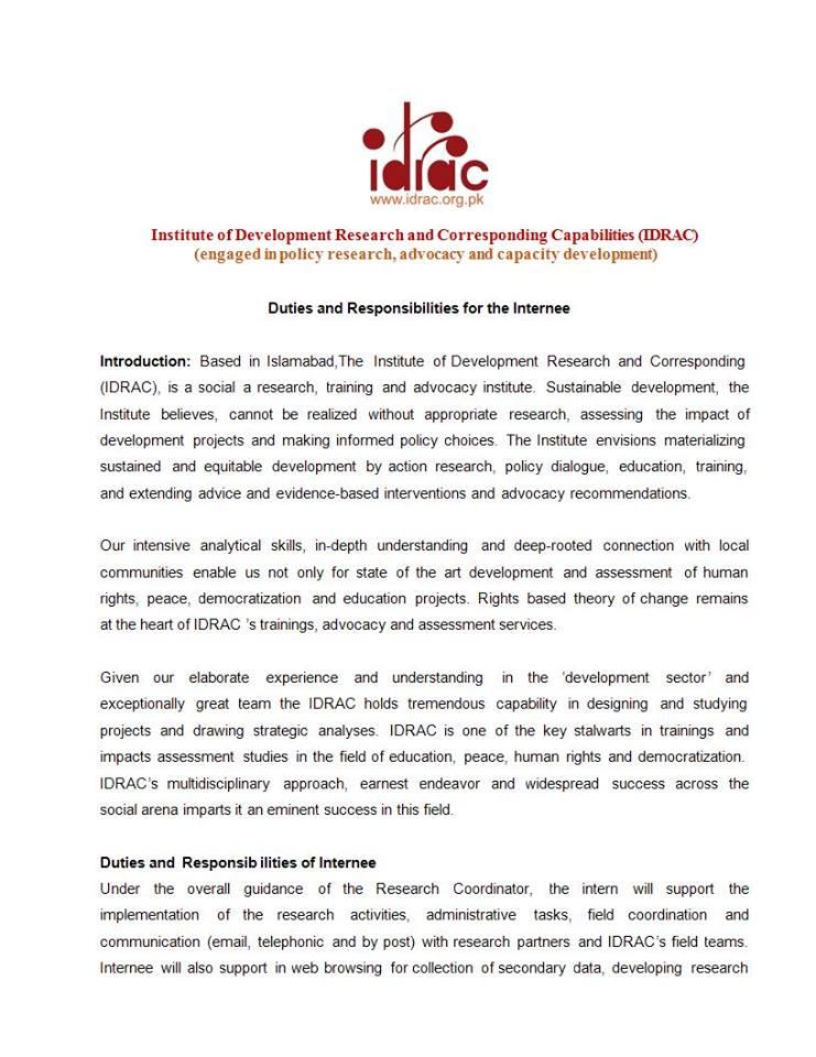 Paid Internship Opportunity - Islamabad