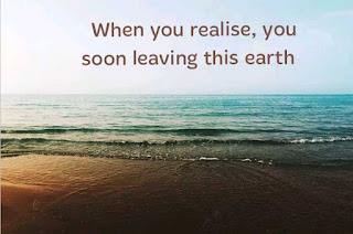 When you realise, you soon leaving this earth