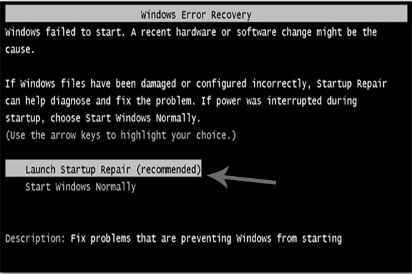 Mengatasi windows error recovery