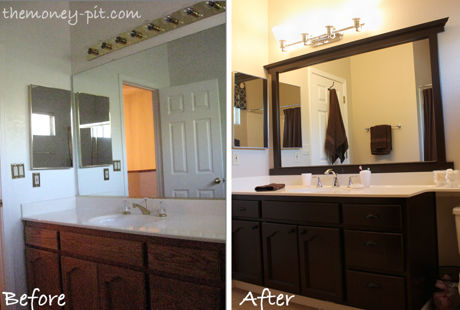 Add Trim To Bathroom Mirror. Framing A Mirror Without Miter Cuts