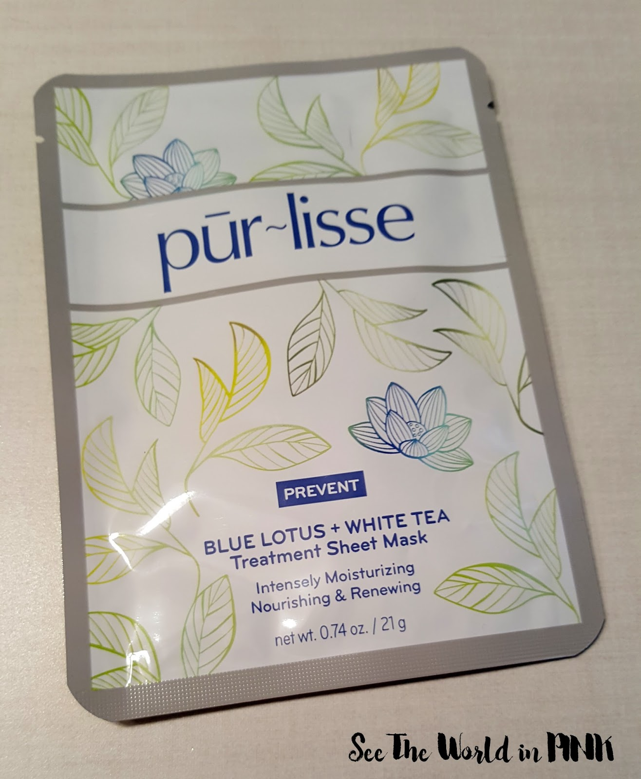 purlisse beauty blue lotus and white tea sheet mask