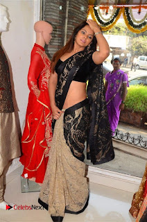 Actress Neetu Chandra Stills in Black Saree at Designer Sandhya Singh's Store Launch  0050.jpg