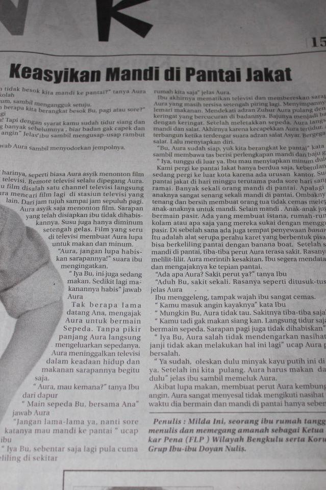 Cerita Anak (Cernak) dimuat di Harian Rakyat Bengkulu