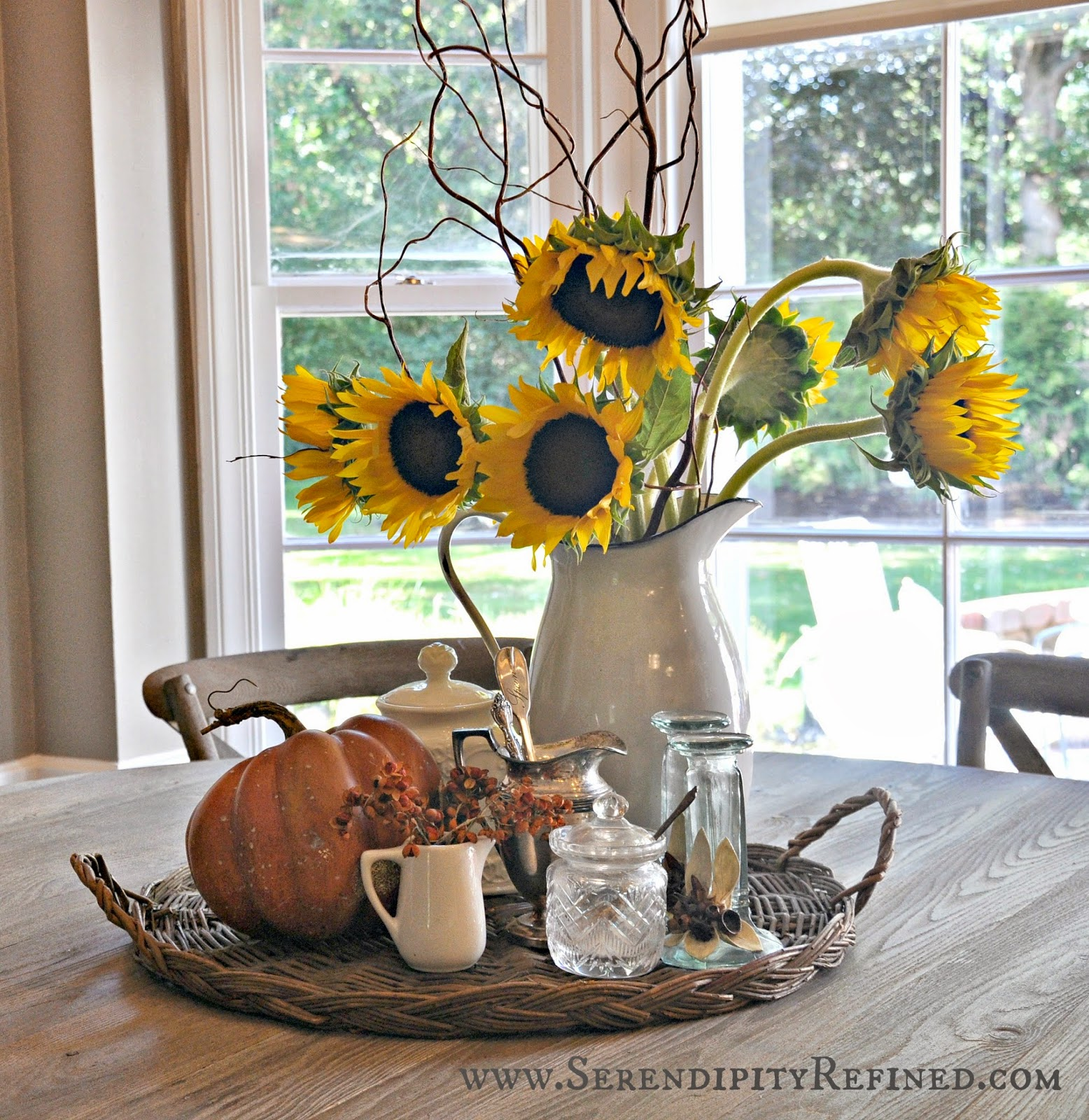 Serendipity Refined: Inside The French Farmhouse: Fall Decorating - Decorating Top Of Cabinets With Sunflowers