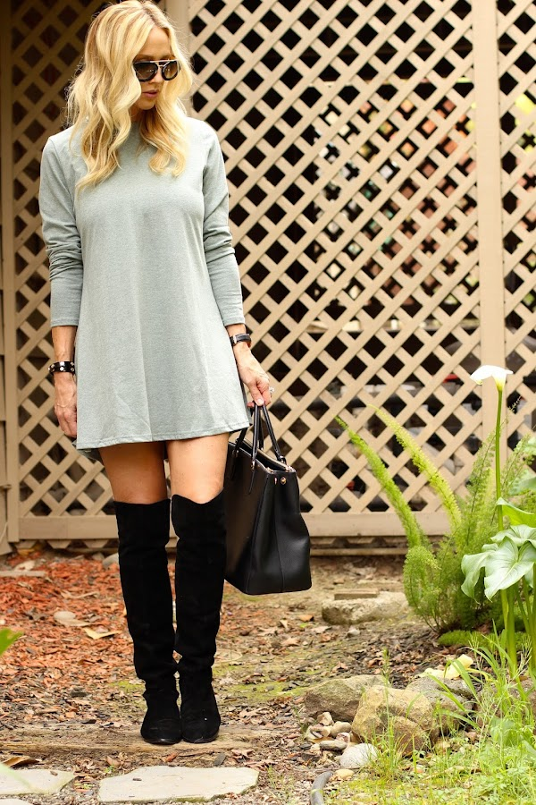 green long sleeve jersey dress sheinside