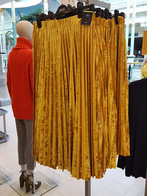 mustard velvet pleated skirt from marks and spencer