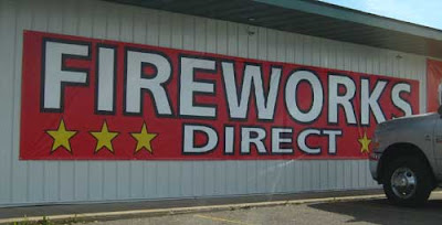 Red fireworks sign