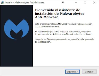 Inicio instalación Malwarebytes
