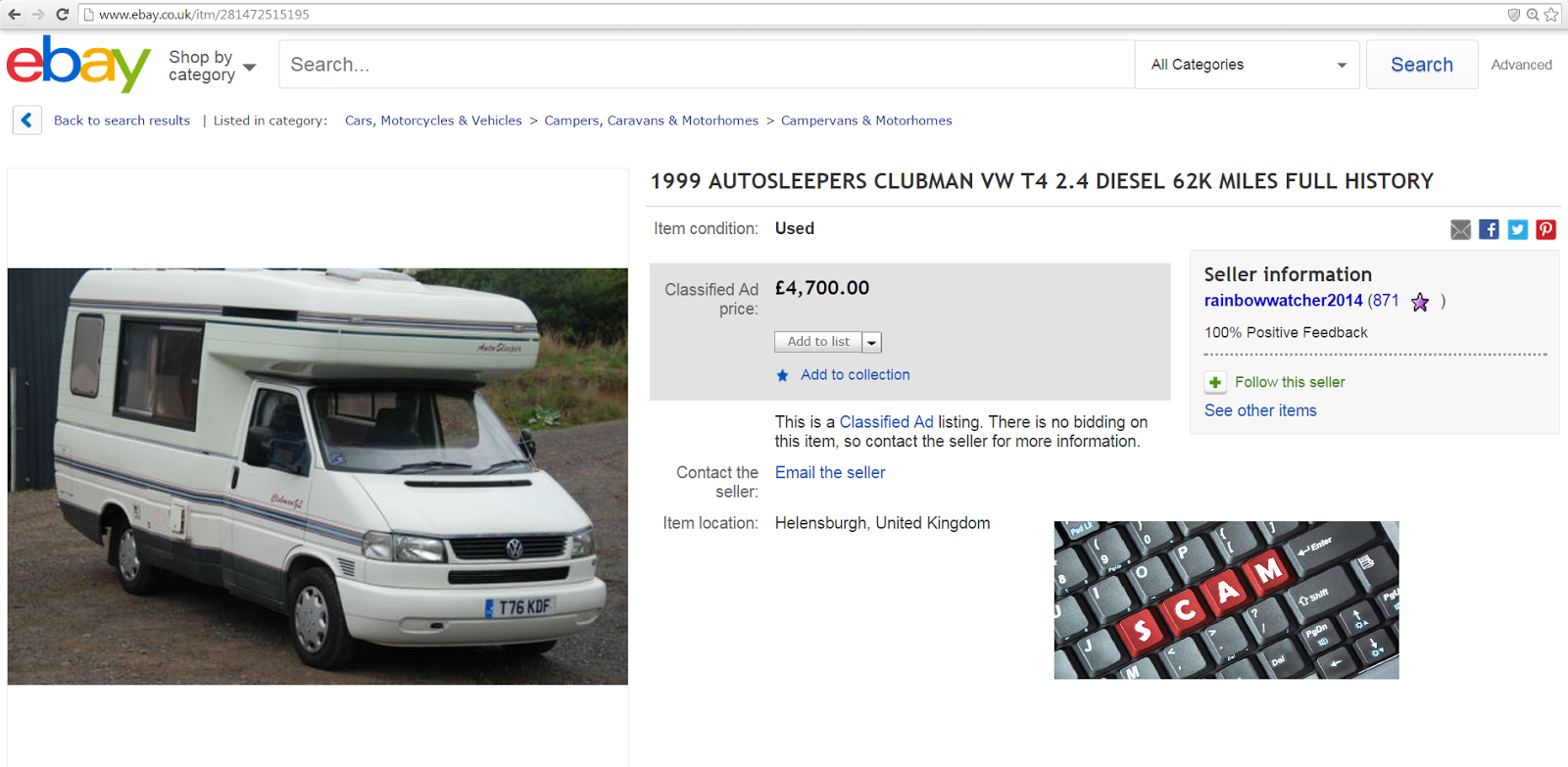 "Auto Sleepers For Sale On Ebay: SCAM 1999 AUTOSLEEPERS CLUBMAN VW T4 Motorhome ""T76KDF"