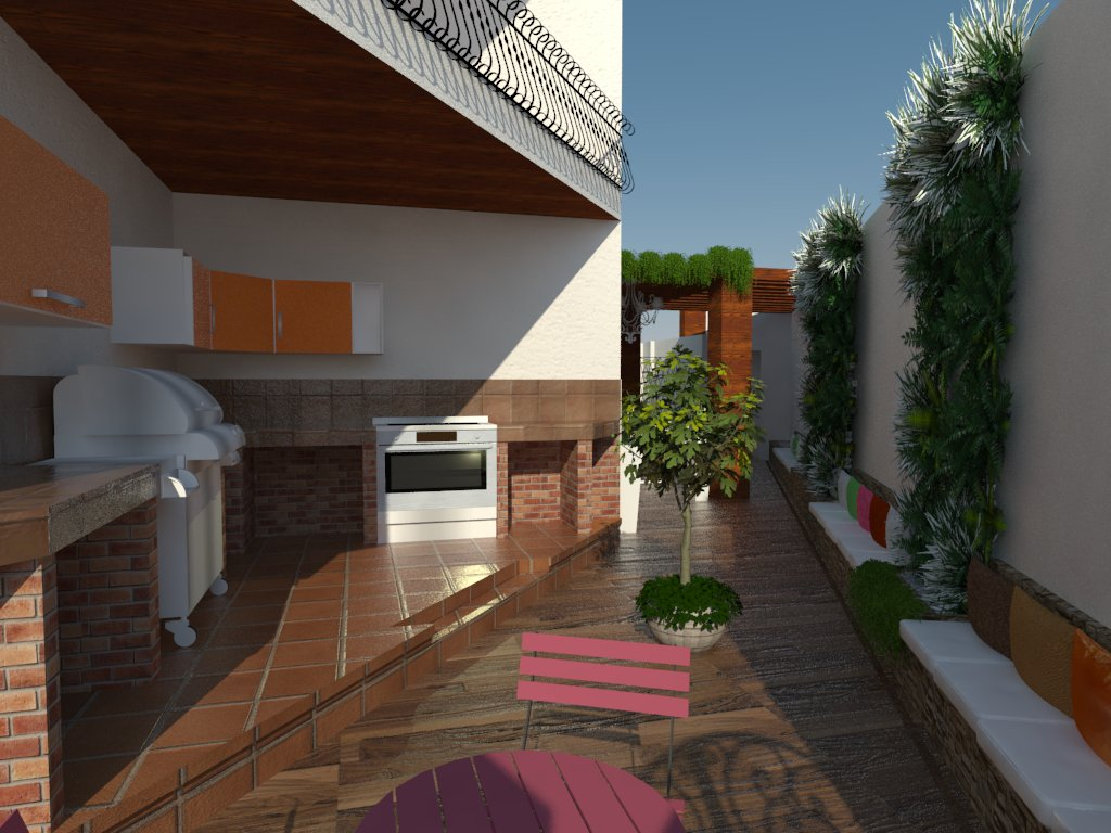 y creando una barbacoa de exterior asientos laterales de obra y arreglo de jardineras reduciendo su tamao para mejorar acceso a la vivienda