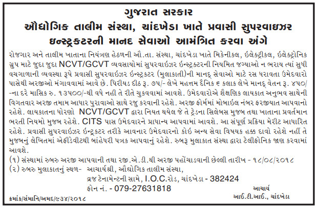 ITI Chandkheda Recruitment for Pravasi Supervisor Instructor Posts 2018