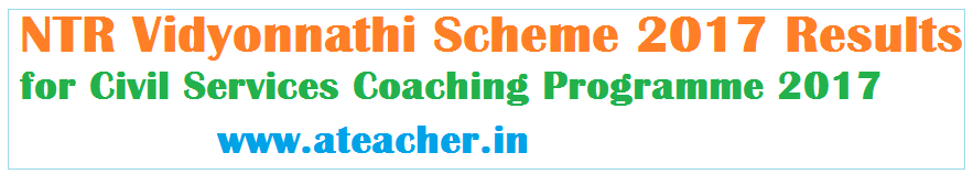 NTR Vidyonnathi Scheme 2017 Results for UPSC Civil Services Coaching Programme 2017