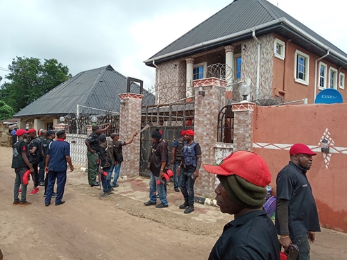 SARS Storms Kidnapper's Mansion In Imo Before Its Demolition