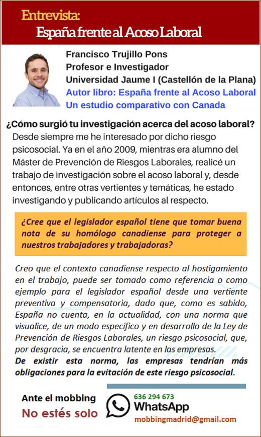 Entrevista: España frente al Acoso Laboral. Un estudio comparativo con Canada