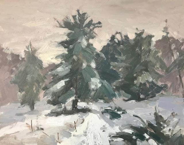 #277 'Snow falling, Bramshott Common' 8×10″