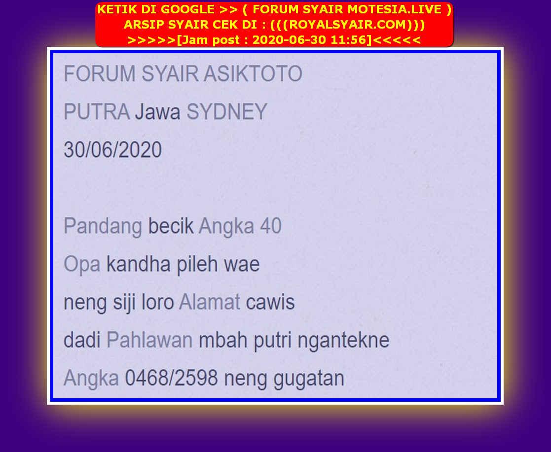 Kode syair Sydney Selasa 30 Juni 2020 12