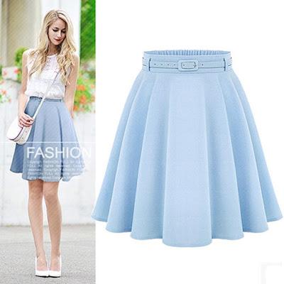 saia azul blue skirt linda moda tendencia elegante moderna fashion barata atual descolada feminina mulher falda gonna blu jupe bleue midi armada princesa cinderela claro clara