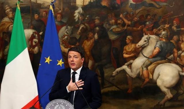 Image Attribute:  Italian Prime Minister Matteo Renzi speaks during a media conference after a referendum on constitutional reform at Chigi palace in Rome, Italy, December 5, 2016.  REUTERS/Alessandro Bianchi