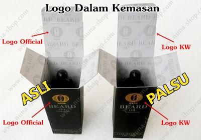 Perbedaan Logo Dalam Kemasan Ombak Beard Oil Asli dan Palsu