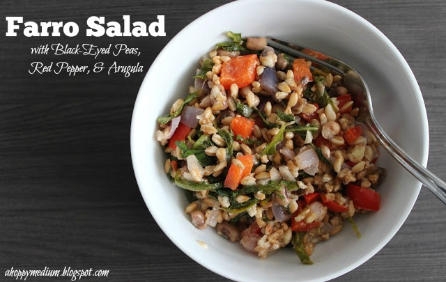Farro Salad with Black-Eyed Peas, Red Pepper, & Arugula | A Hoppy Medium