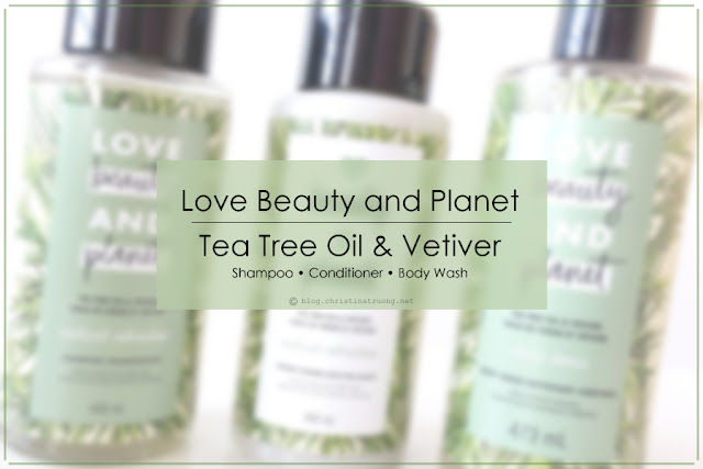 Love Beauty and Planet Tea Tree Oil & Vetiver Collection Review featuring Tea Tree Oil & Vetiver Body Wash, Shampoo, Conditioner.