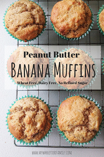 Peanut Butter Banana Muffins - wheat free, dairy free, no refined sugar - from www.mywholefoodfamily.com