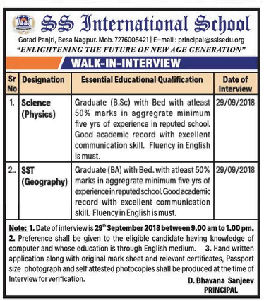 SS International School Recruitment 2018