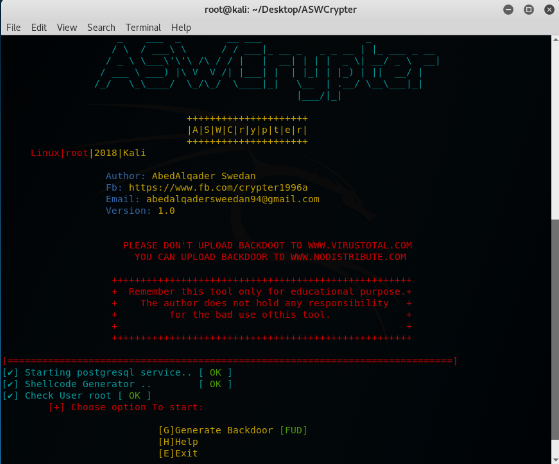 ASWCrypter - An Bash&Python Script For Generating Payloads