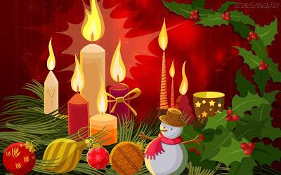 Papel de Parede Desenho Enfeites e Velas de Natal