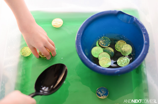 St. Patrick's sensory bin activity for toddlers and preschoolers