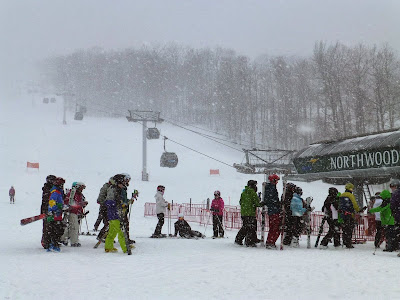 Skiers were treated to a mini-whiteout that left a quick inch of snow Saturday morning.  The Saratoga Skier and Hiker, first-hand accounts of adventures in the Adirondacks and beyond, and Gore Mountain ski blog.