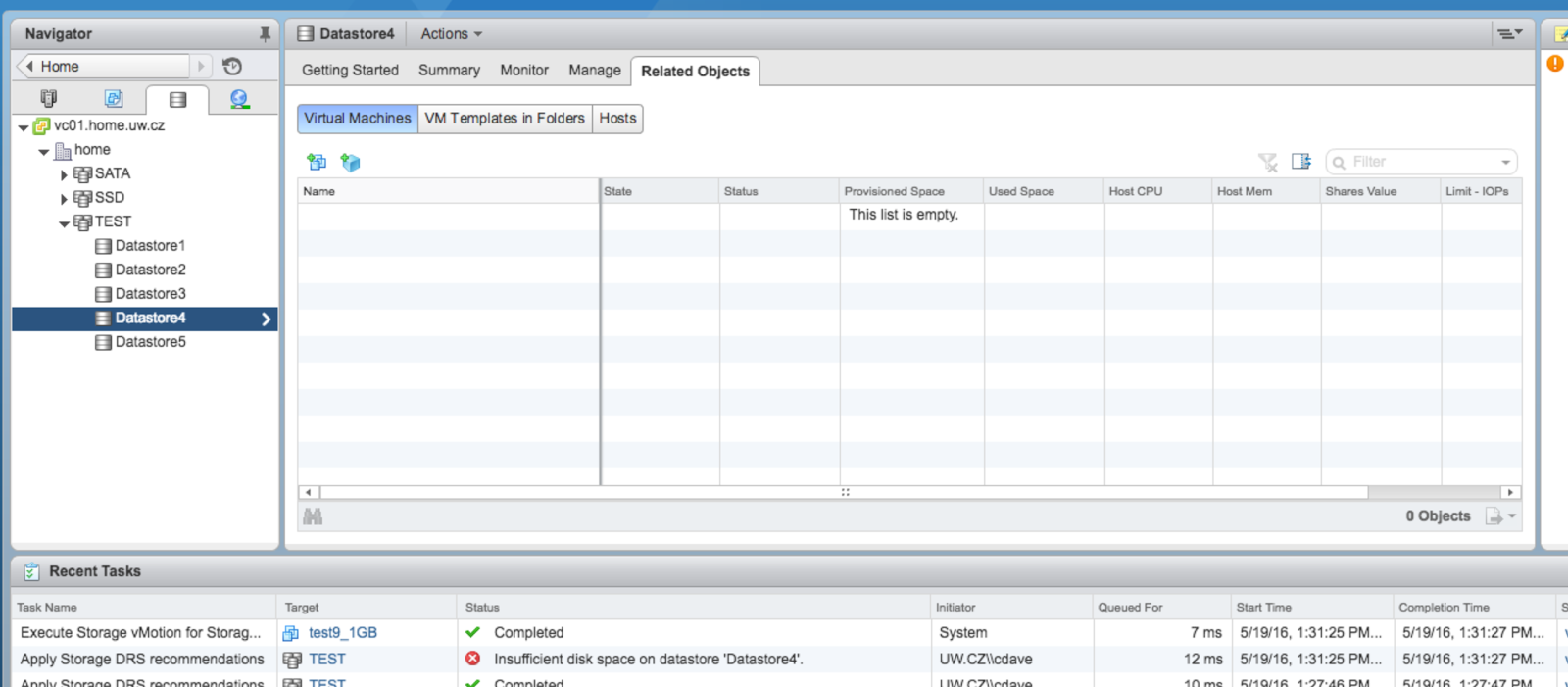 David Pasek's Profession Blog: VMware vSphere SDRS - test
