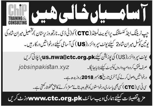 Advertisement for CTC Jobs 2018 (North Waziristan)