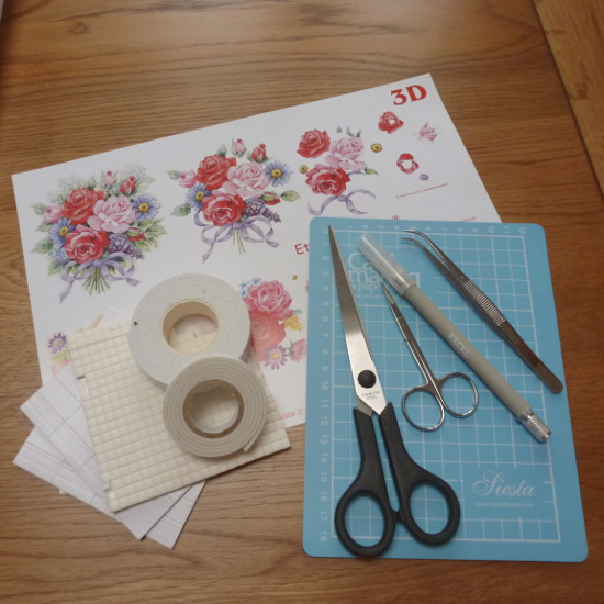 Printed 3D decoupage sheet, scissors, knife, cutting mat, 3D foam squares