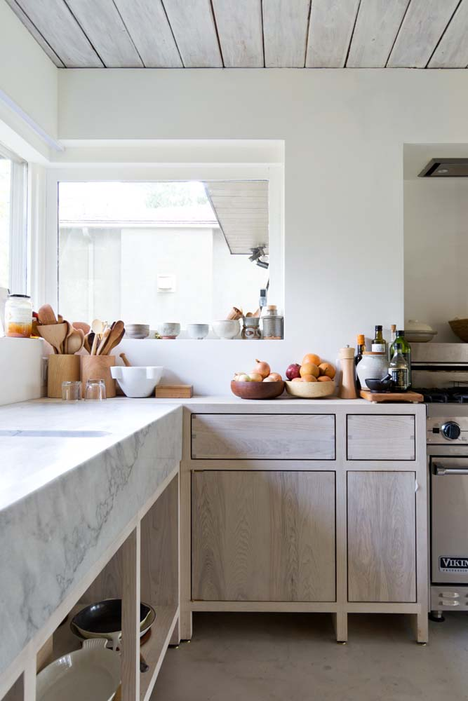 Beautiful kitchen styling with lovely marble countertops.