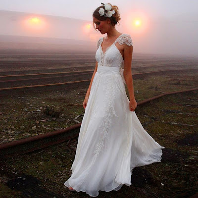 Different V-neck Chiffon Sweep Train Beading Backless Wedding Dress