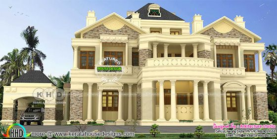 Colonial luxury house in beige paint