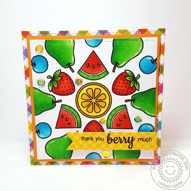 Sunny Studio Stamps: Fresh & Fruity Thank You Card by Lindsey Sams