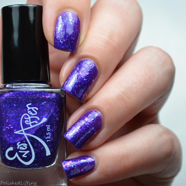 purple jelly nail polish with purple flakies