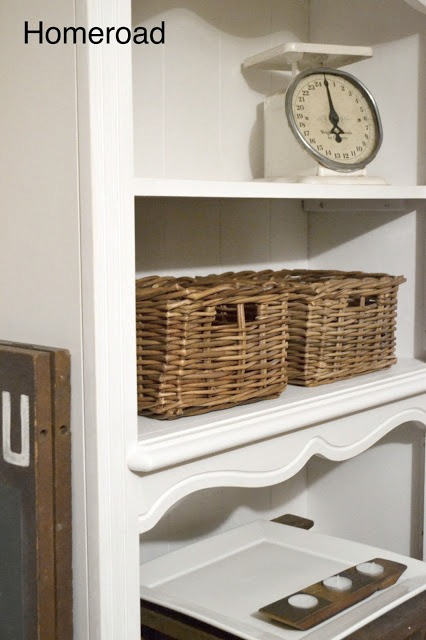 Farmhouse shelving creates a kitchen hutch