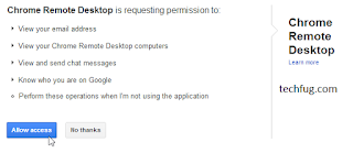 chrome remote desktop allow access