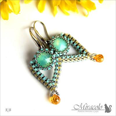 kolczyki z kwarcem i rivoli, quarz teradrop earrings, Miracolo