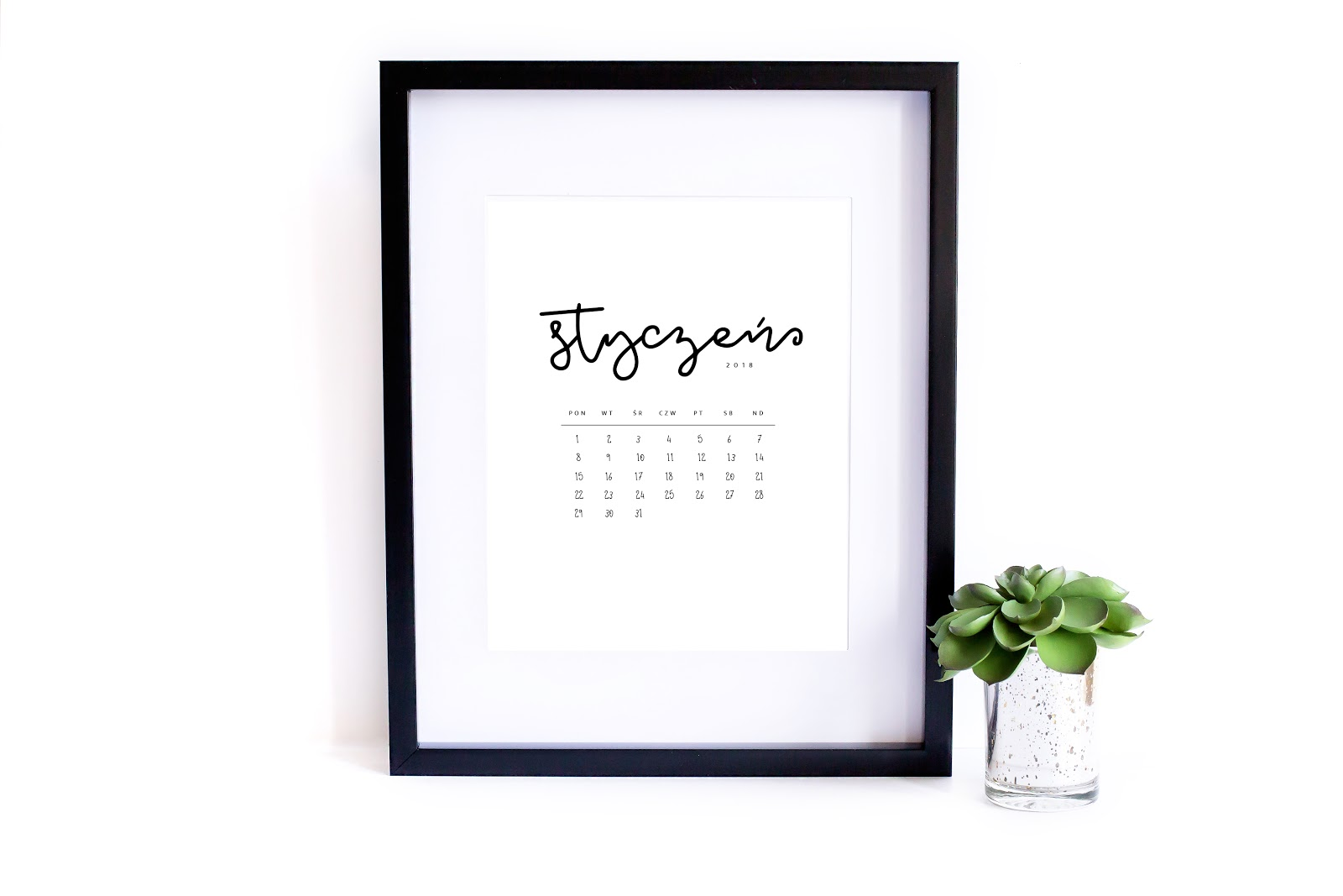 Mimialistyczny kalendarz 2018 do druku