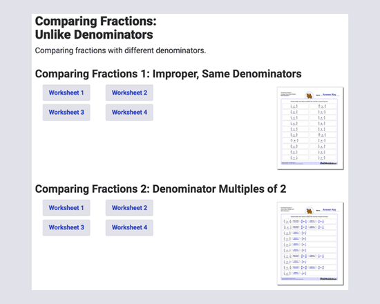 Printable worksheets to work at home on comparing fractions