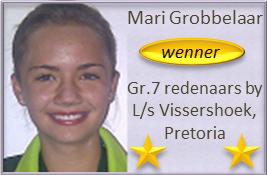 Mari Grobbelaar WEN Gr.7 redenaars by L/s Vissershoek, Pretoria! Baie geluk met 'n hele laerskoolloopbaan van puik redenaars, Mari!
