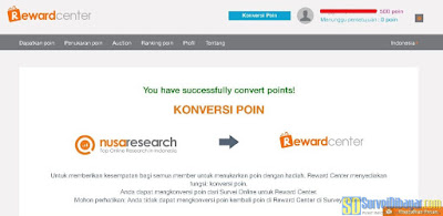 Proses konversi poin Nusaresearch sukses | SurveiDibayar.com