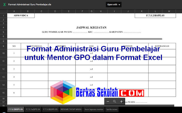 Download Format Administrasi Guru Pembelajar untuk Mentor GPO dalam Format Excel dan PDF